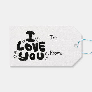 Love & Hearts Black & White - Wedding, Engagement Gift Tags