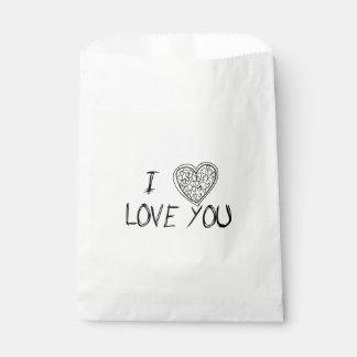 Love & Hearts Black & White - Wedding, Party Favour Bags