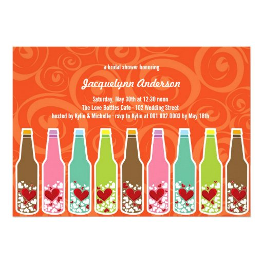 Love Hearts Bottles Whimsical Bridal Shower Party Invites