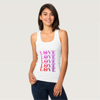Love Hearts Cool Ombre Tones Typography Graphic Tank Top