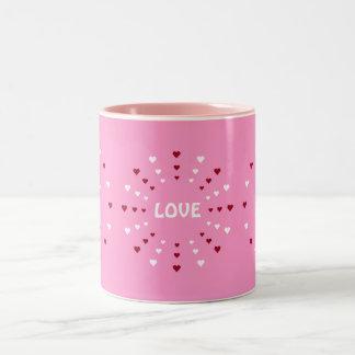 Love & Hearts Customizable Pink Two-Tone Mug