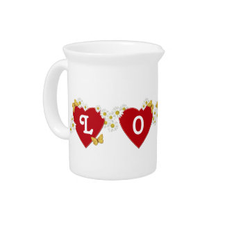 Love Hearts Daisies and Butterflies Drink Pitchers