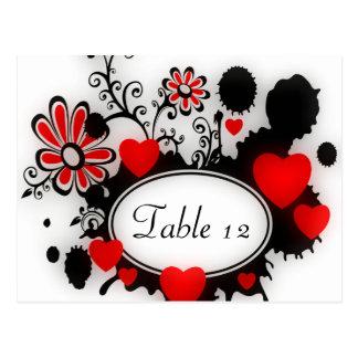 Love Hearts Flower Splats Red Black White Wedding Postcard