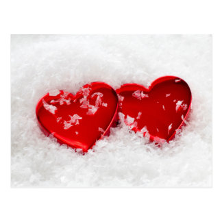 Love Hearts in Snow Postcard