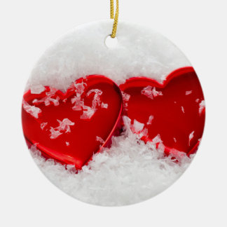 Love Hearts in Snow Round Christmas Ornament
