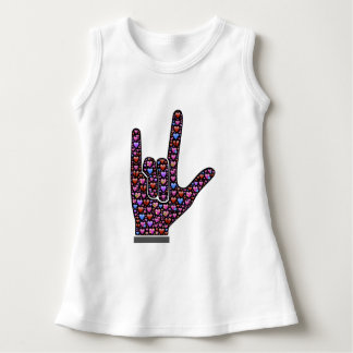 Love Hearts in Sweet Sign Language Hand Baby Dress