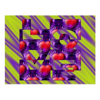 LOVE hearts - lightgreen violet waves Postcard