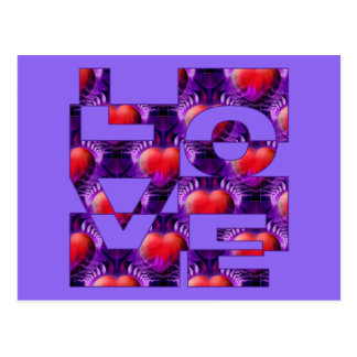 LOVE hearts | lila Postcard