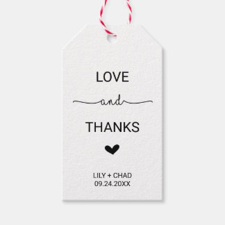 Love Hearts Love and Thanks Gift Tags
