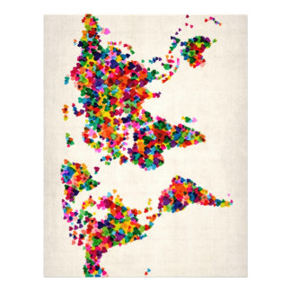 Love Hearts Map of the World Map 21.5 Cm X 28 Cm Flyer