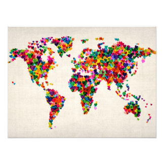 Love Hearts Map of the World Map Photograph