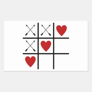 LOVE HEARTS 'n ARROWS Tic Tac Toe Rectangle Sticker