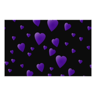 Love Hearts Pattern in Black and Purple. Flyer Design