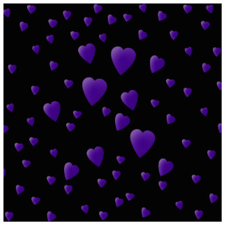 Love Hearts Pattern in Black and Purple. Standing Photo Sculpture