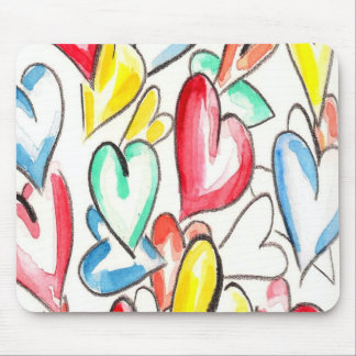 Love Hearts Pencil and Aquarelle Mouse Pad