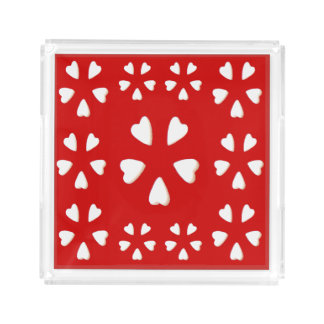 Love Hearts Perfume Tray for Women-Red/White