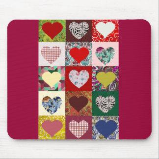 Love Hearts Quilt Mouse Mat
