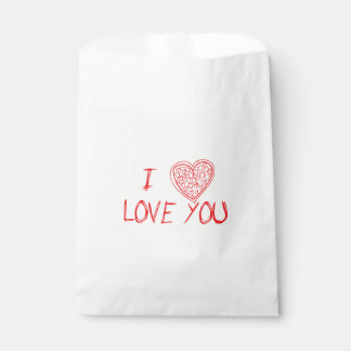 Love & Hearts Red & White - Wedding, Party Favour Bags