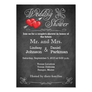 Love Hearts, Scrolls Chalkboard Wedding Shower Card