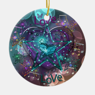 Love Hearts Stars Musical Notes and Sparkles Round Ceramic Decoration