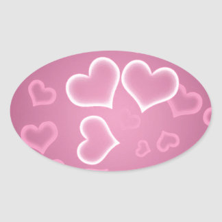 Love  Hearts Oval Stickers