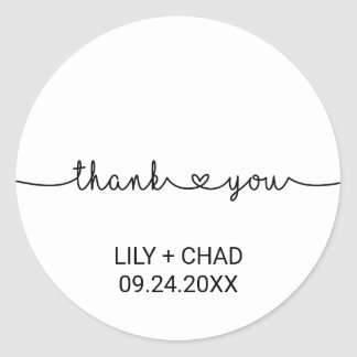 Love Hearts Thank You Favor Classic Round Sticker