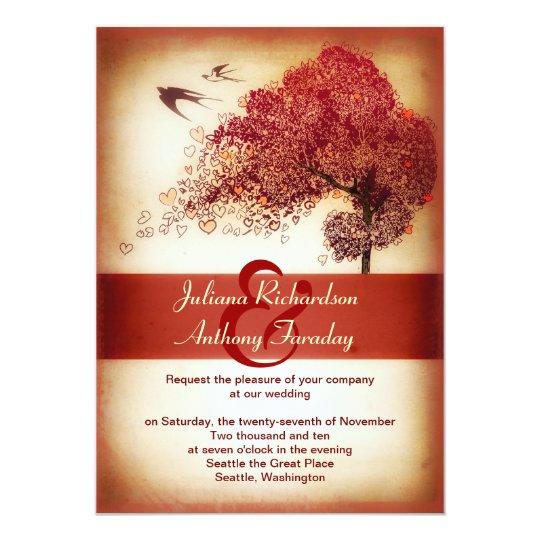 love hearts tree wedding announcement - invitation