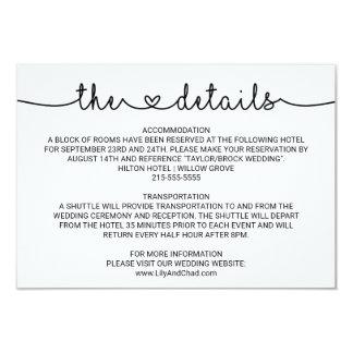 Love Hearts Wedding Details Card