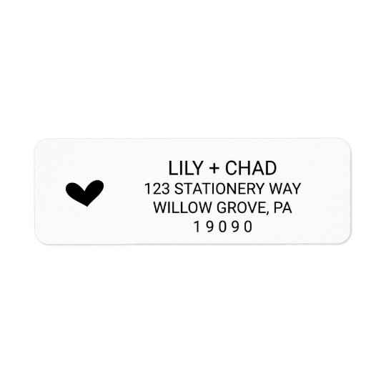 Love Hearts Wedding Return Address Label