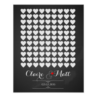 love hearts wedding signing guest book