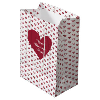 LOVE Hearts (Wine Color) with Personalized Message Medium Gift Bag