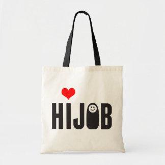 Love hijab tote bags