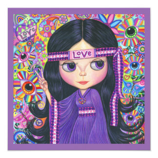 Love Hippie Girl Flower Child Peace Sign 13 Cm X 13 Cm Square Invitation Card