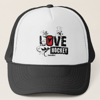 Love Hockey Swirl Trucker Hat