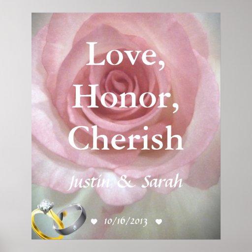 Love, Honor, Cherish Personalized Wedding Poster