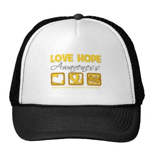 Love Hope Awareness Childhood Cancer Trucker Hat