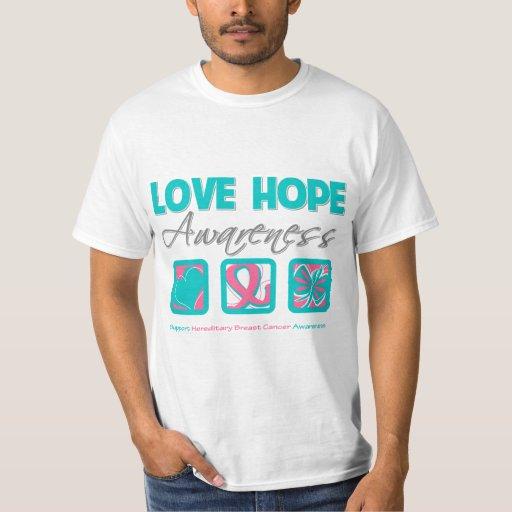 Love Hope Awareness Hereditary Breast Cancer Tee Shirt