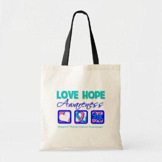 Love Hope Awareness Thyroid Cancer Canvas Bags