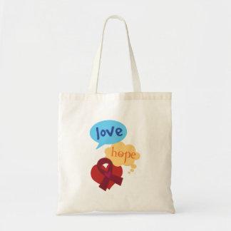Love Hope Burgundy Ribbon Budget Tote Bag
