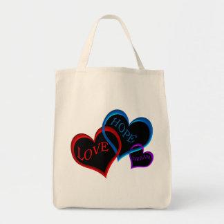 Love, Hope, Dream black Grocery Tote Bag