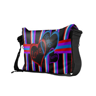 Love, Hope, Dream black Messenger Bag