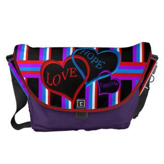 Love, Hope, Dream black Messenger Bags