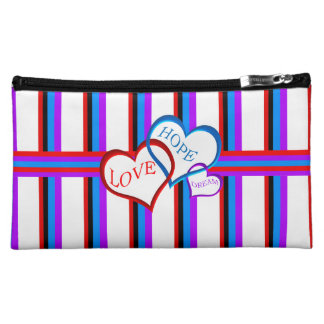 Love, Hope, Dream white Cosmetic Bags