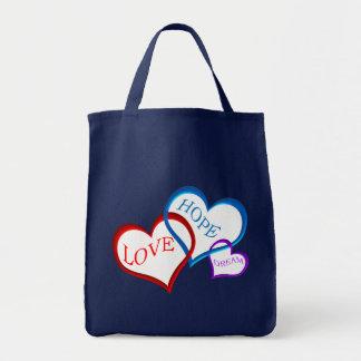 Love, Hope, Dream white Grocery Tote Bag