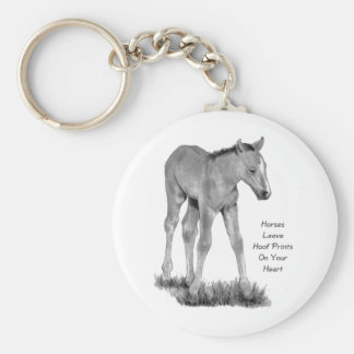 Love Horses: Hoofprints On Your Heart: Pencil Basic Round Button Key Ring