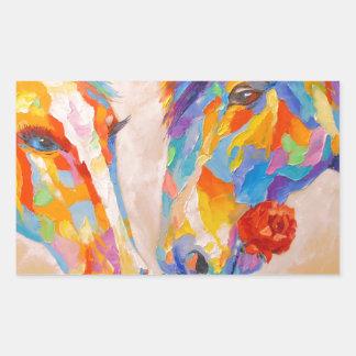 Love horses rectangular sticker