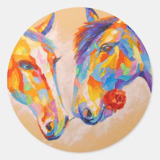 Love horses round sticker