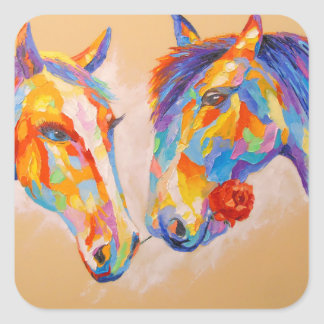 Love horses square sticker