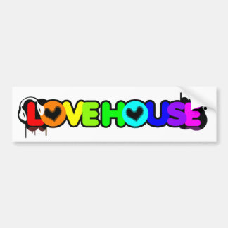 Love House Music Bumper Car Window Sticker Bumper Sticker