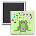 Love Hungry Frog Square Magnet